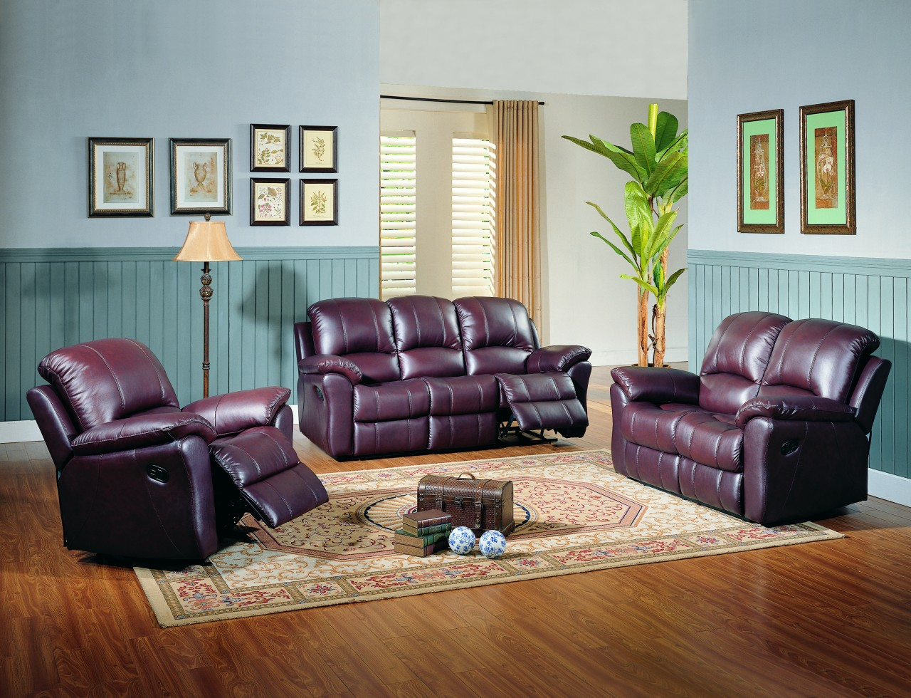 Parker living jupiter black cherry leather reclining sofa for Living room ideas with burgundy sofa