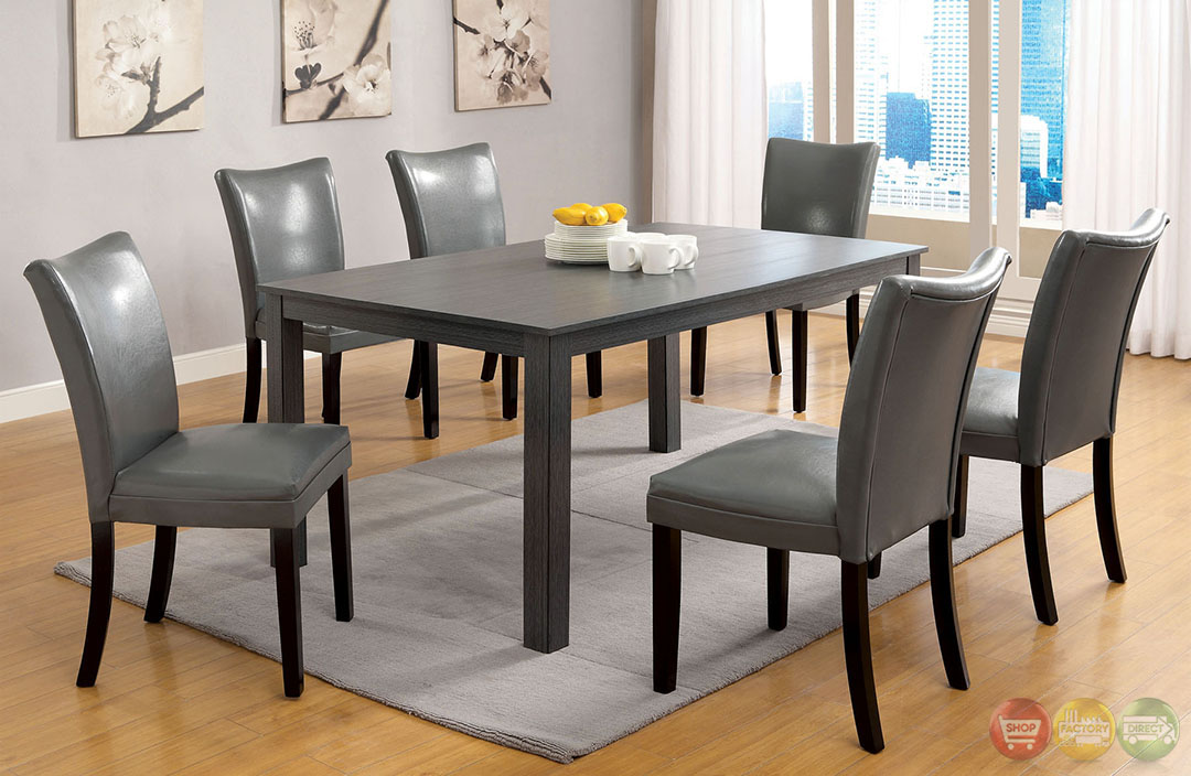 Kenton i contemporary gray casual dining set with for Informal dining chairs