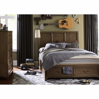 Kenwood Transitional Suede Full Size Storage Bed