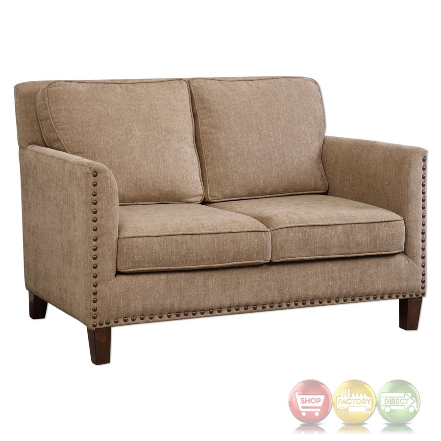 Keturah Driftwood Brown Dobby Chenille Loveseat With Large Brass Nails Accent