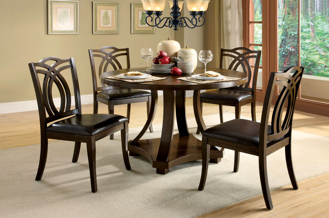 keukenhof contemporary dark walnut casual dining set with. Black Bedroom Furniture Sets. Home Design Ideas
