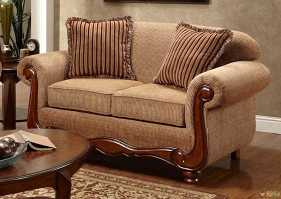 Key west curved frame chenille living room sofa and loveseat set Chenille sofa and loveseat