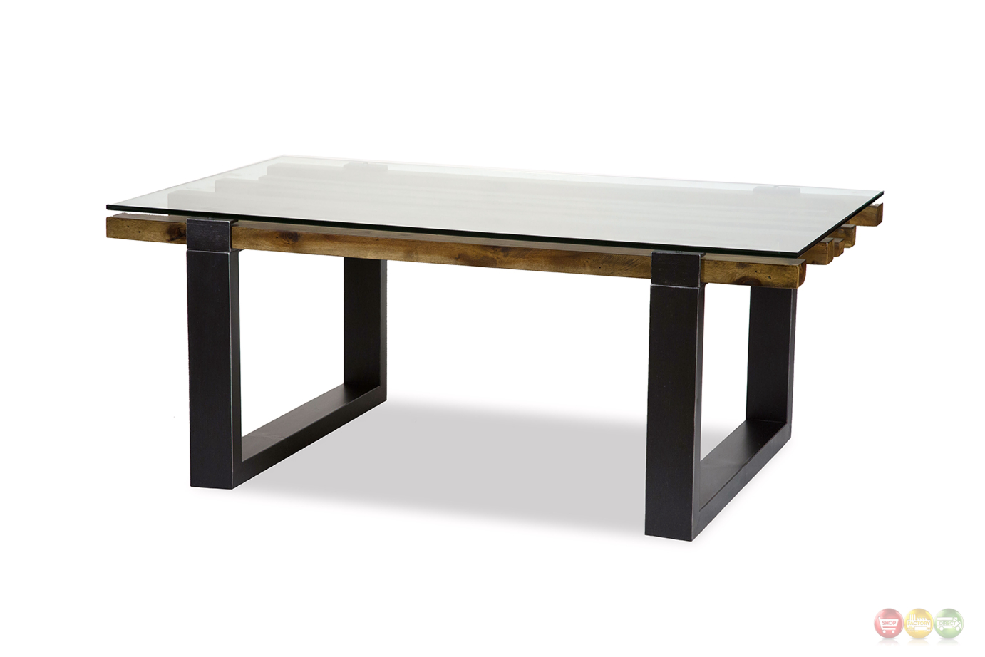 Keystone Rustic Modern Mahogany Coffee Table W Stylish Wood Glass Top