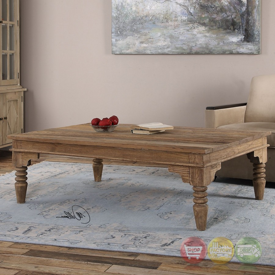 Khristian Reclaimed Elm Wood Coffee Table With Natural