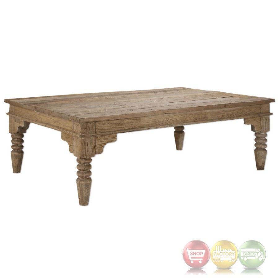 Khristian Reclaimed Elm Wood Coffee Table With Natural Finish And Turned Legs