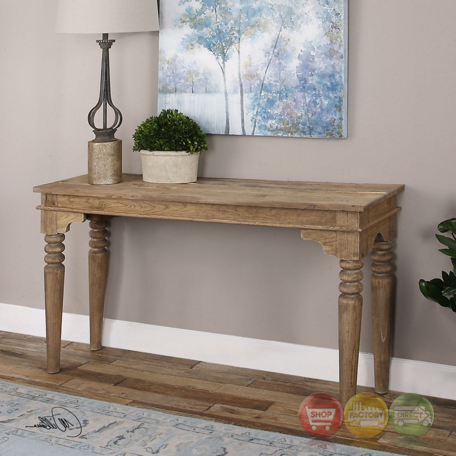 khristian reclaimed elm wood console table with natural finish and turned legs. Black Bedroom Furniture Sets. Home Design Ideas