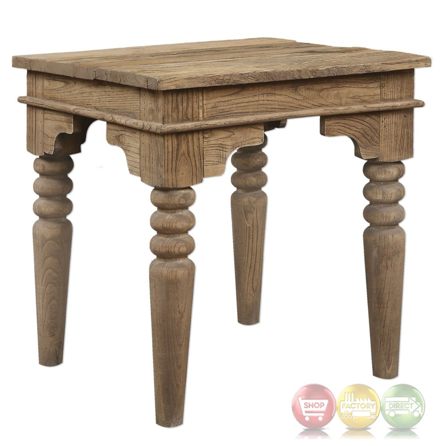 Khristian Reclaimed Elm Wood End Table With Natural Finish And Turned Legs