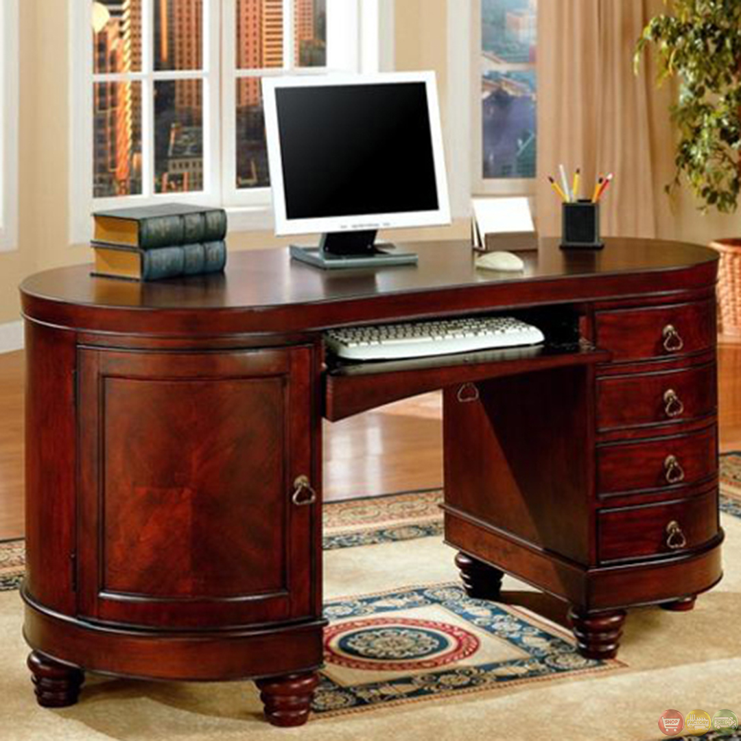 Kidney shaped home office desk in medium cherry finish home office furniture shop factory direct - Kidney shaped office desk ...