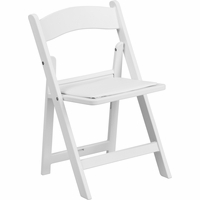 Set of 2, Kids White Resin Folding Chair With White Vinyl Padded Seat