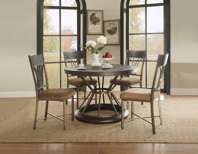 "Kieran 5-pc Rustic 45"" Round Antique Black Iron Pedestal Dining Set w/ Wood Top"