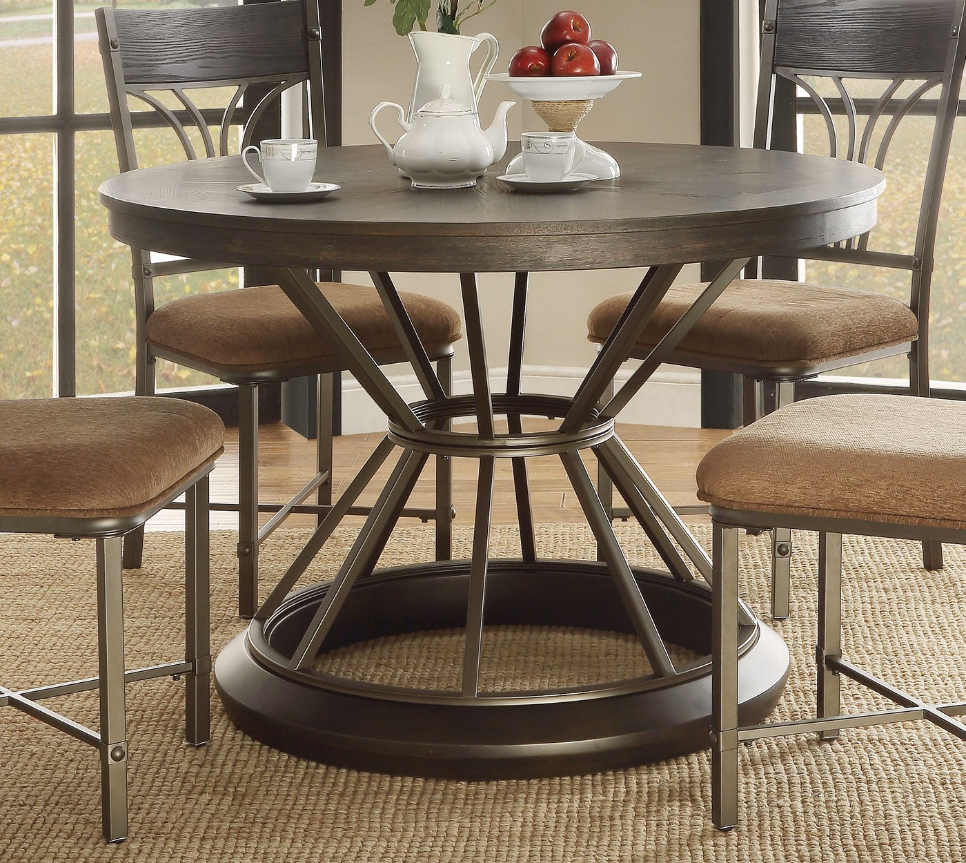 "Wood Round Dining Table: Kieran Rustic 45"" Round Antique Black Iron Pedestal Dining"