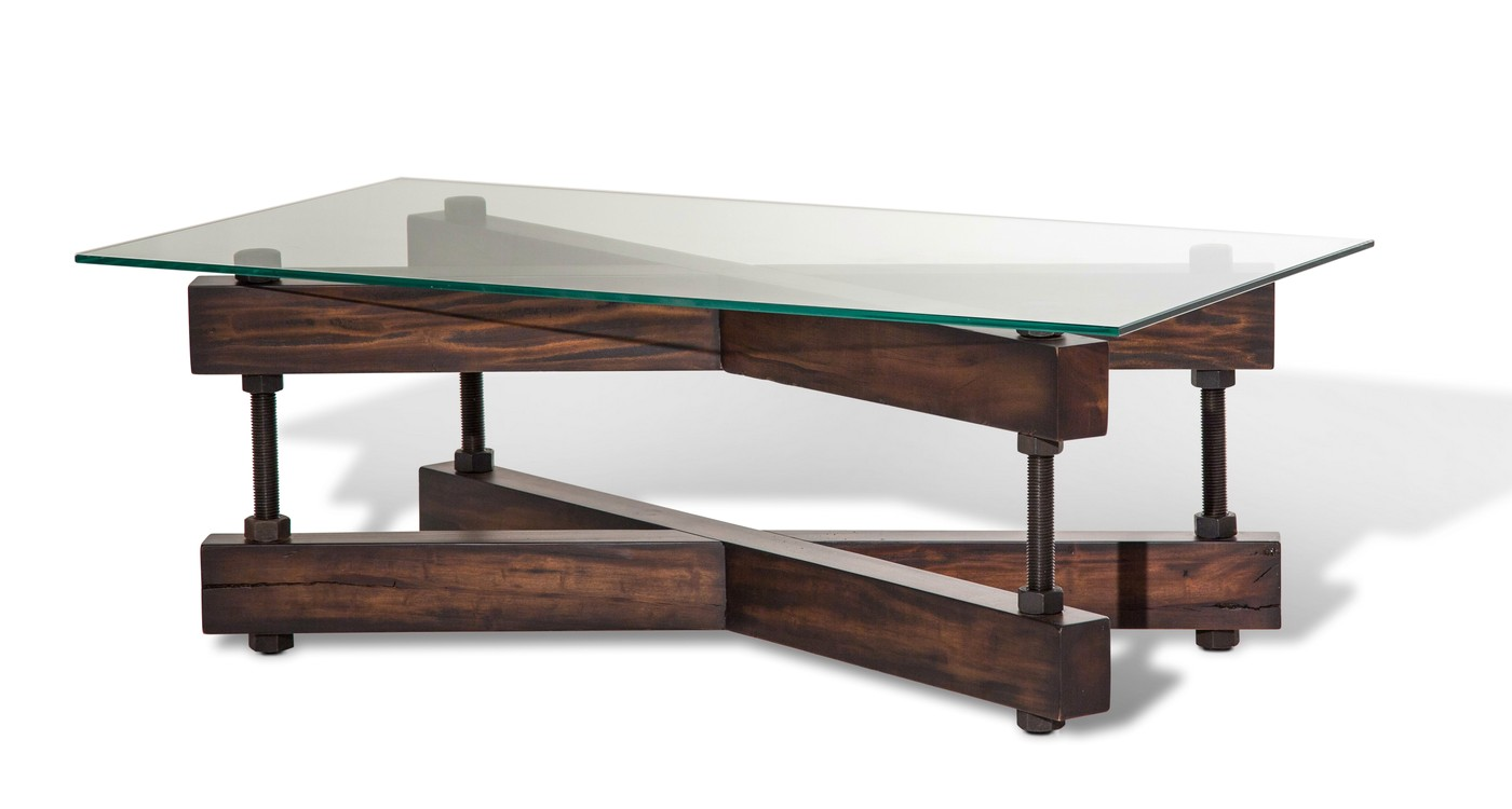 Killington Rustic Modern Coffee Table W Glass Top Double X Wood Base
