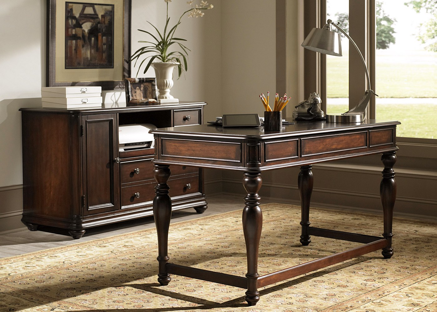 Kingston plantation home office desk credenza set for Plantation desk plans