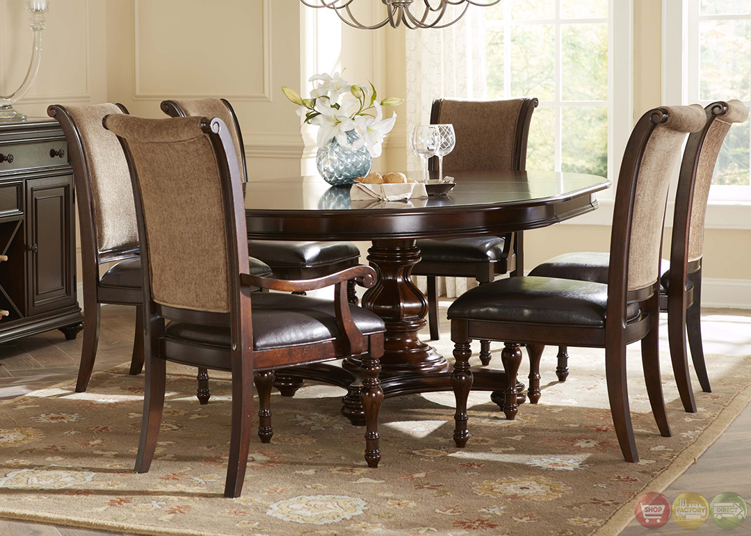 Kingston plantation traditional oval table chairs 7 pc for Dining room chair set