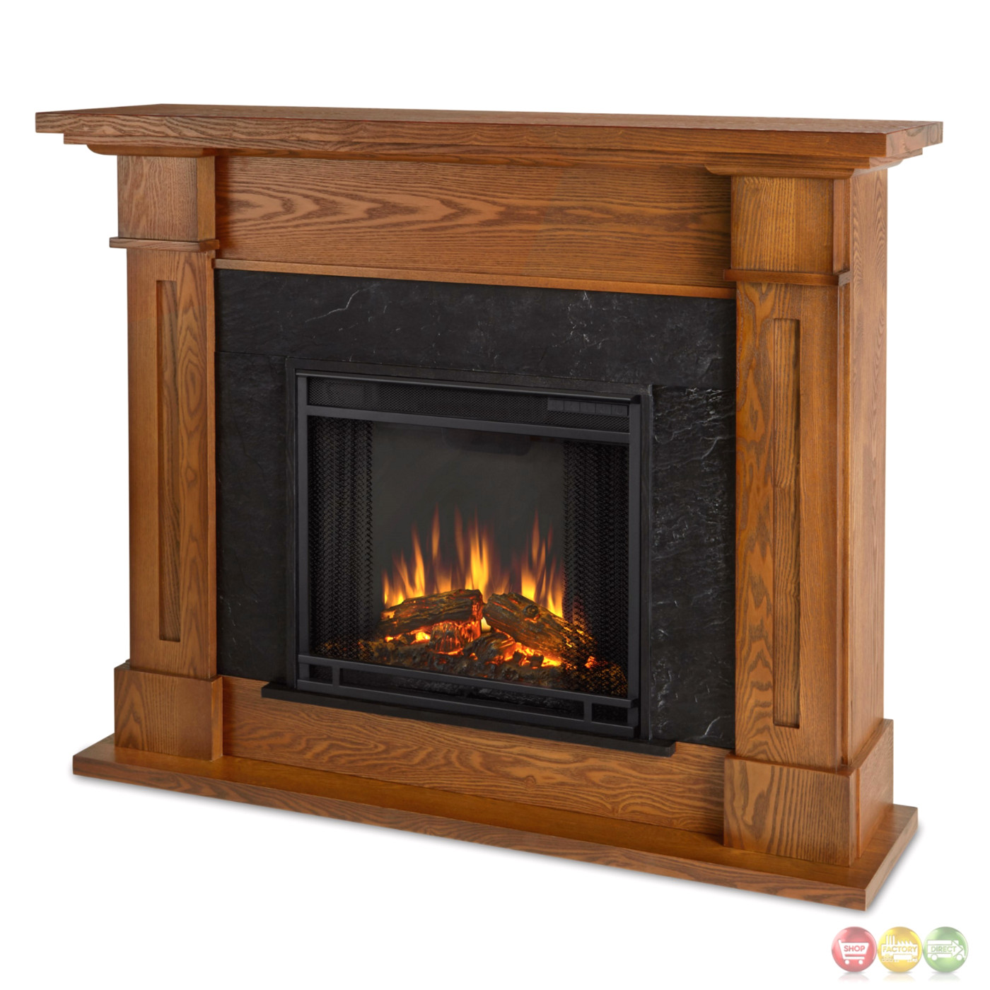 Kipling Electric Heater Led Fireplace In Burnished Oak