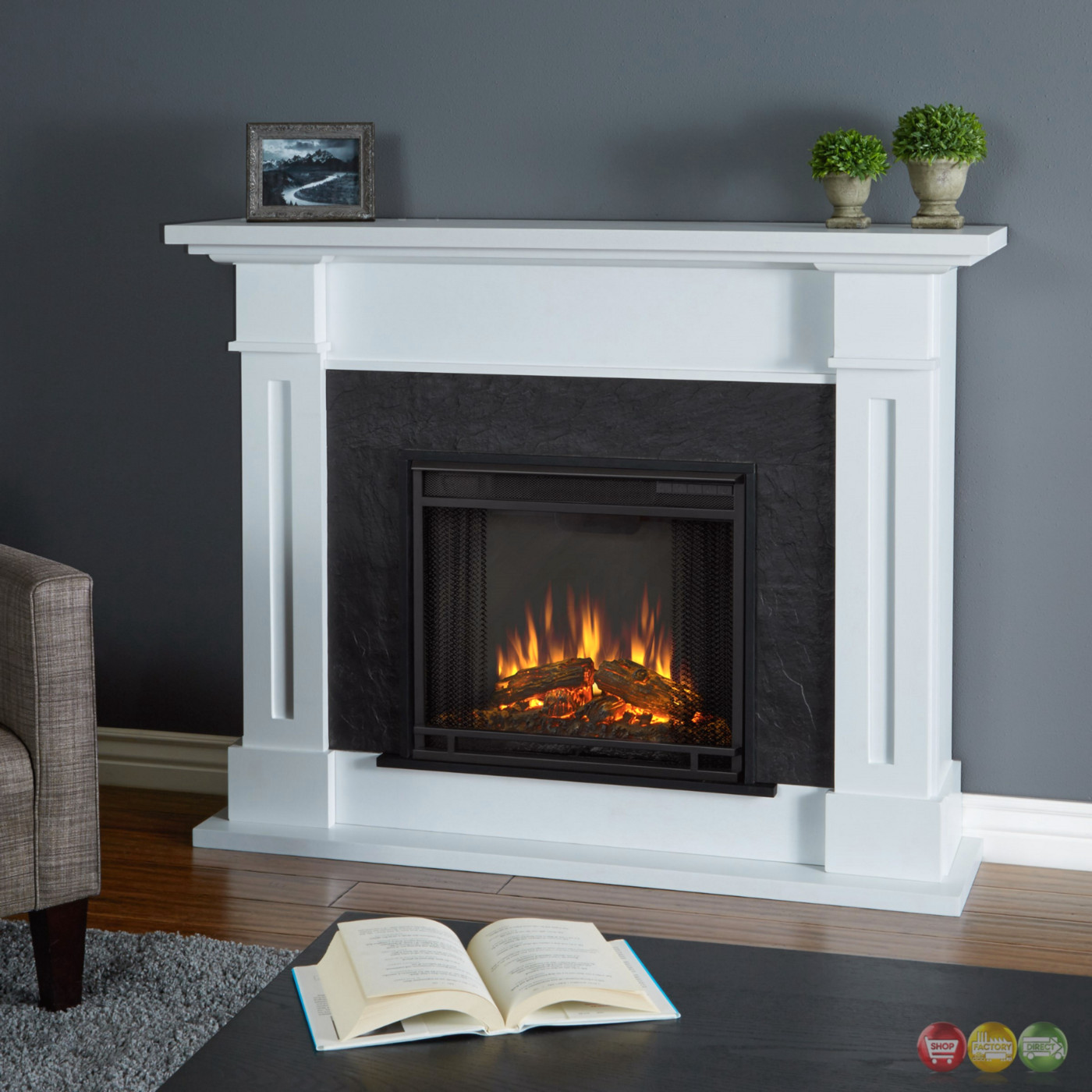 Kipling electric heater led fireplace in white 4700btu 54x42 for Small fake fireplace