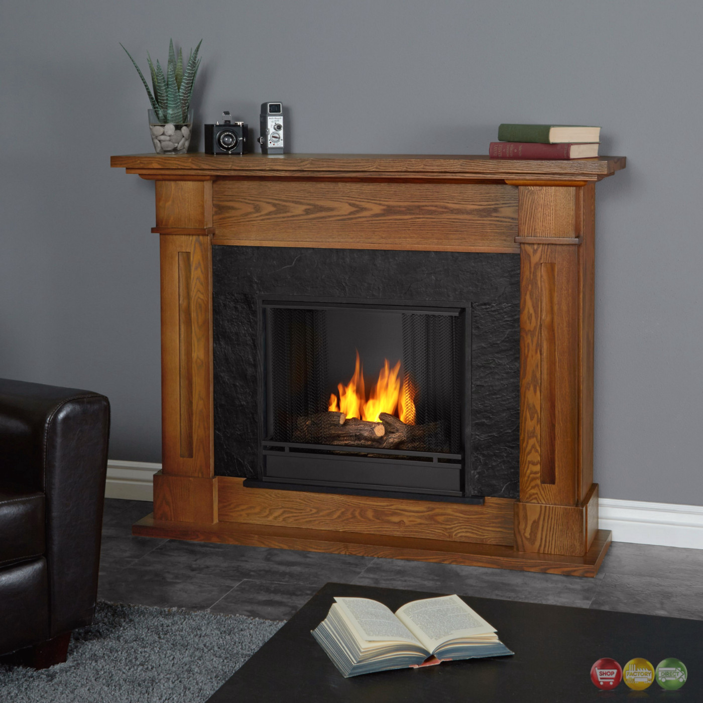 kipling ventless gel fuel fireplace in burnished oak with logs 54x42. Black Bedroom Furniture Sets. Home Design Ideas