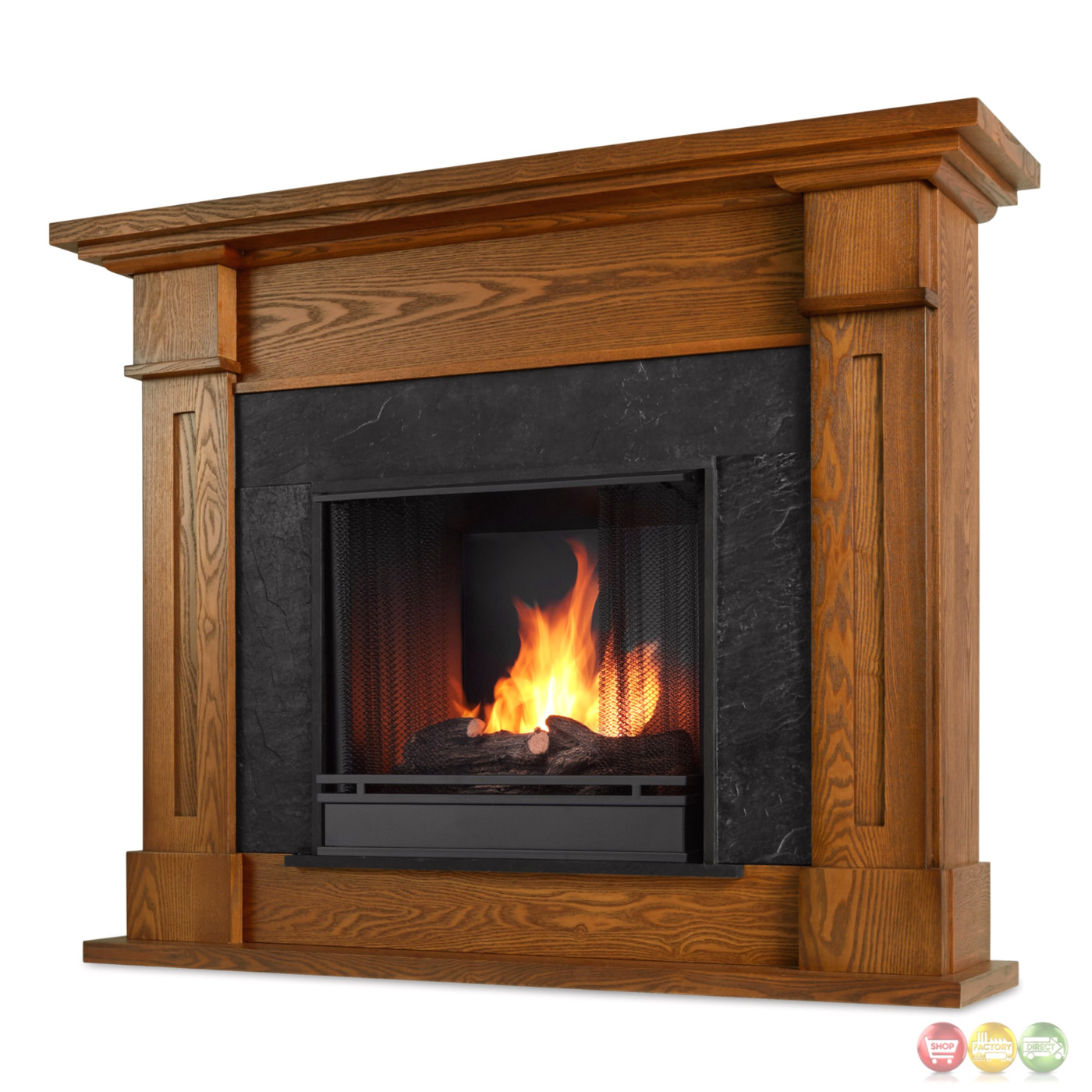 Kipling Ventless Gel Fuel Fireplace In Burnished Oak With