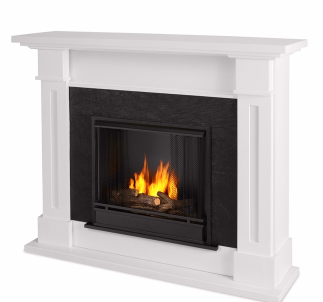 Kipling Ventless Gel Fuel Fireplace In White With Cast Logs, 54x42