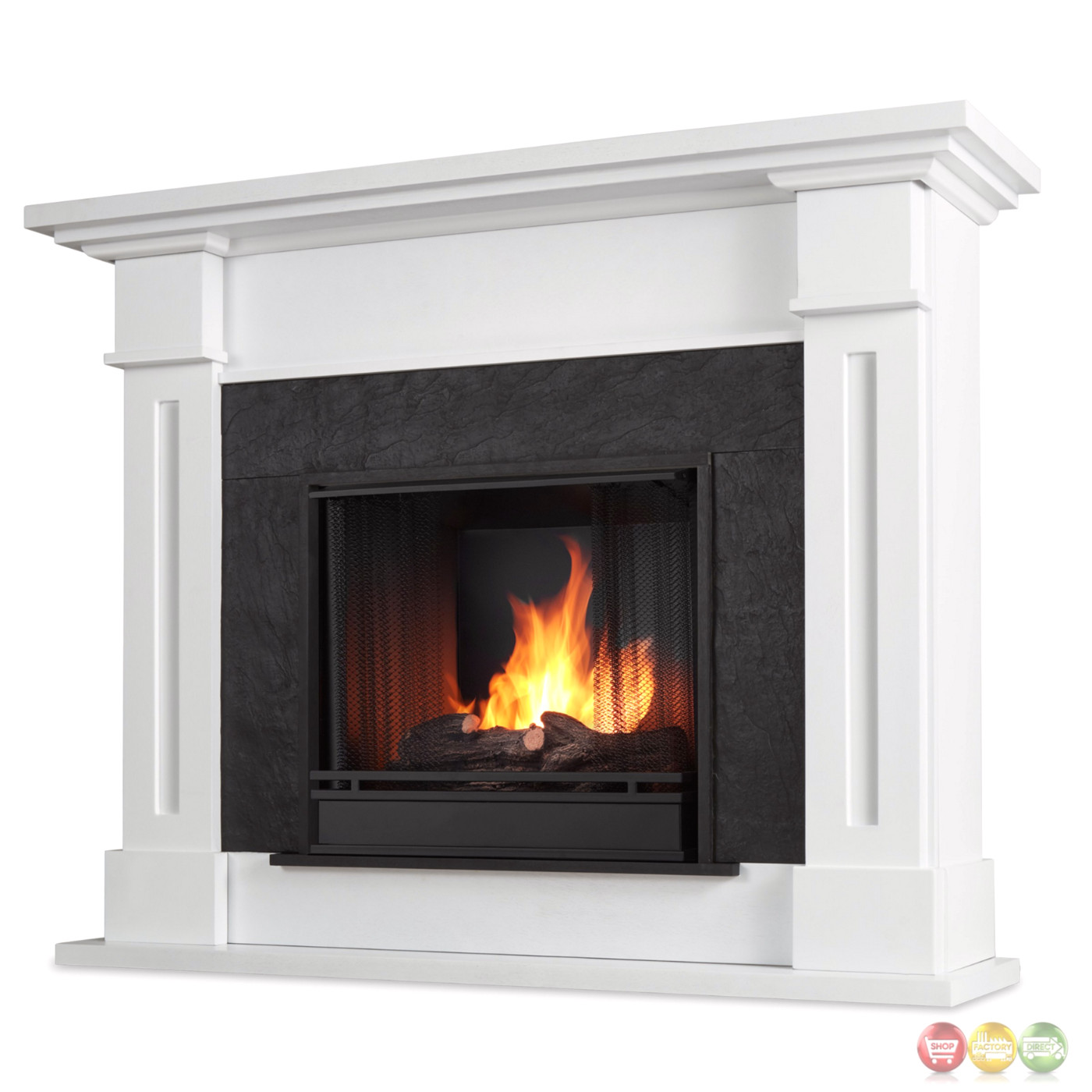kipling ventless gel fuel fireplace in white with cast logs 54x42. Black Bedroom Furniture Sets. Home Design Ideas