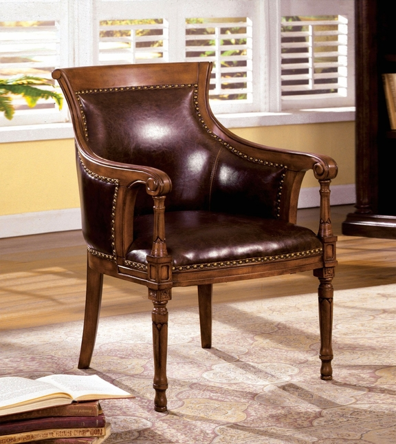Kirklees Distressed Antique Oak Accent Chair With Curved Scroll Back