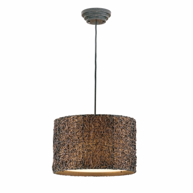 Knotted Rattan Modern Espresso Drum Pendant 21103