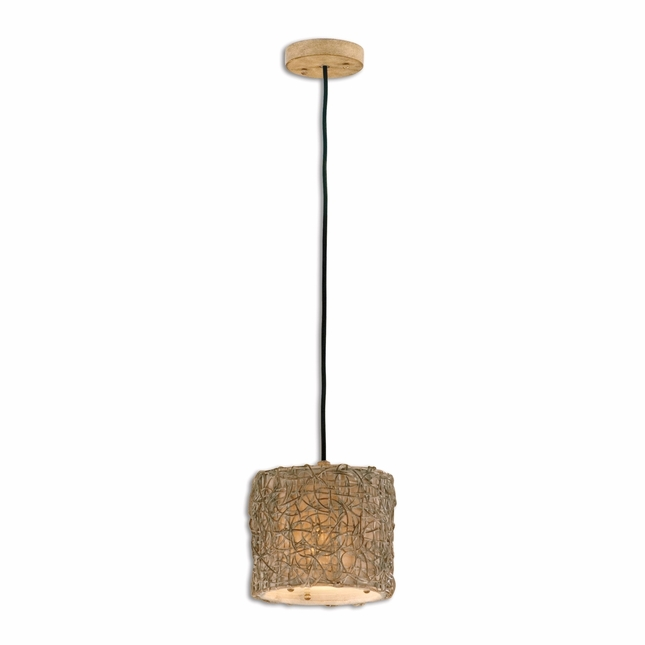 Knotted Rattan Modern Light Mini Drum Pendant 21837