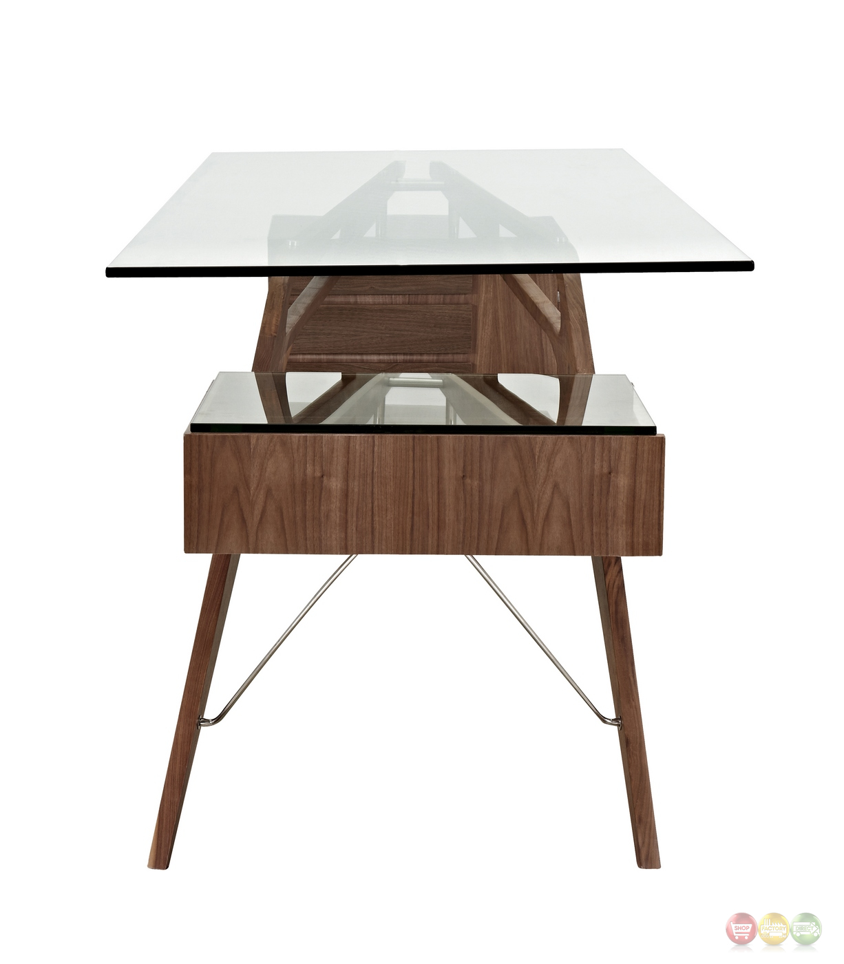 koen mid century modern walnut wood writing desk with glass top. Black Bedroom Furniture Sets. Home Design Ideas