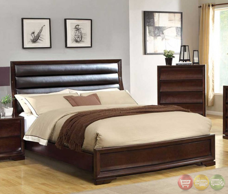 Kozani transitional walnut bedroom set with padded for Transitional bedroom furniture