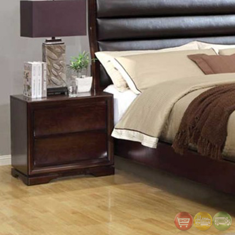 Kozani transitional walnut bedroom set with padded for American black walnut bedroom furniture