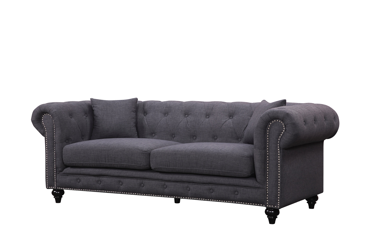 kristopher chesterfield modern grey linen tufted sofa loveseat. Black Bedroom Furniture Sets. Home Design Ideas