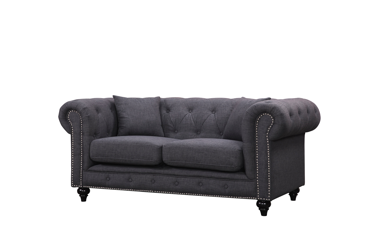 Kristopher Chesterfield Modern Grey Velvet Button Tufted Loveseat