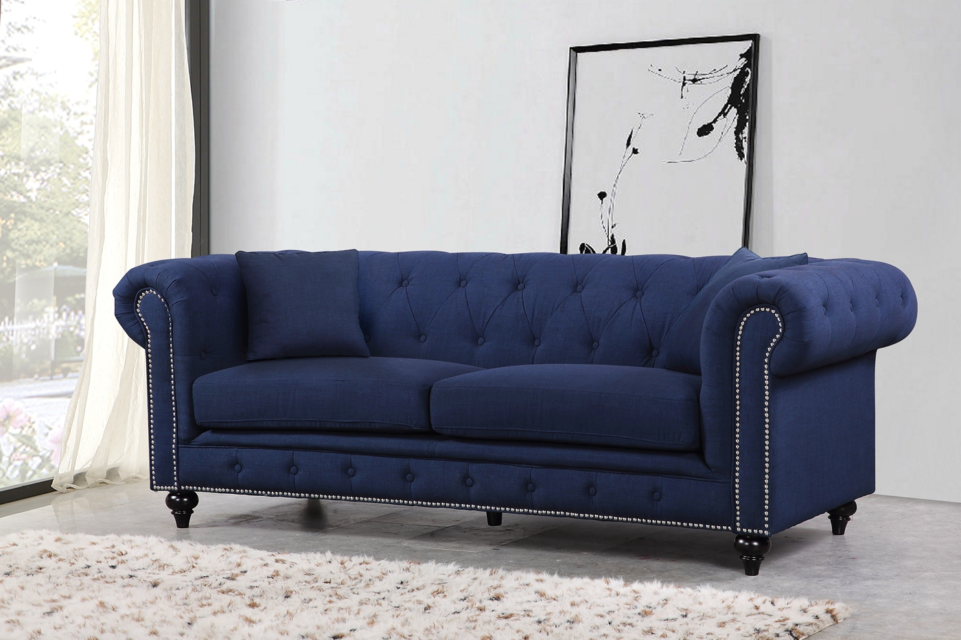 Kristopher Chesterfield Contemporary Navy Linen Button