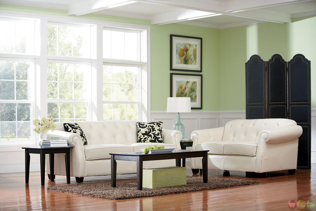 Kristyna White Bonded Leather Stationary Living Room