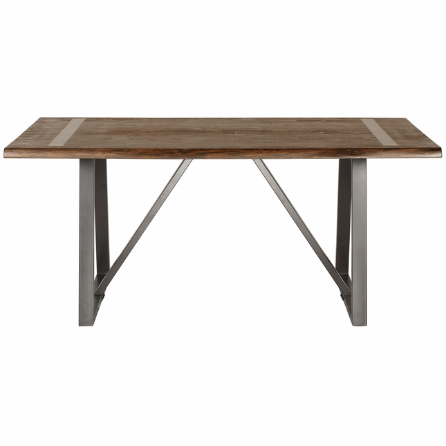 Kurtwood Rustic Live Edge Wood 68 Dining Table With Metal Legs