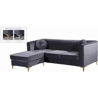 Kyson Grey Velvet 2pc. Reversible Sectional w/Channel Tufted Back & Chrome Legs
