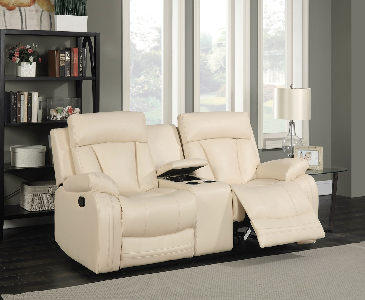 Kyson Modern Beige Bonded Leather Reclining Loveseat W
