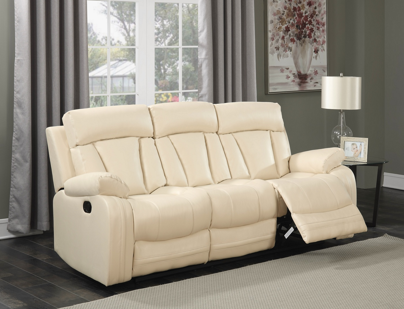 Kyson Modern Beige Bonded Leather Reclining Sofa With