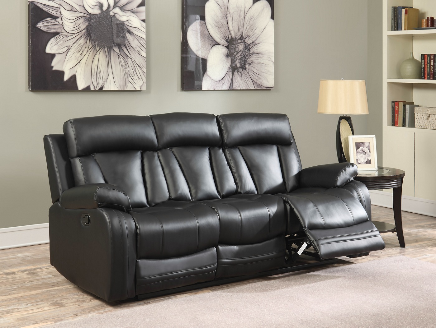 Kyson Modern Black Bonded Leather Reclining Sofa Loveseat W Channel Backs