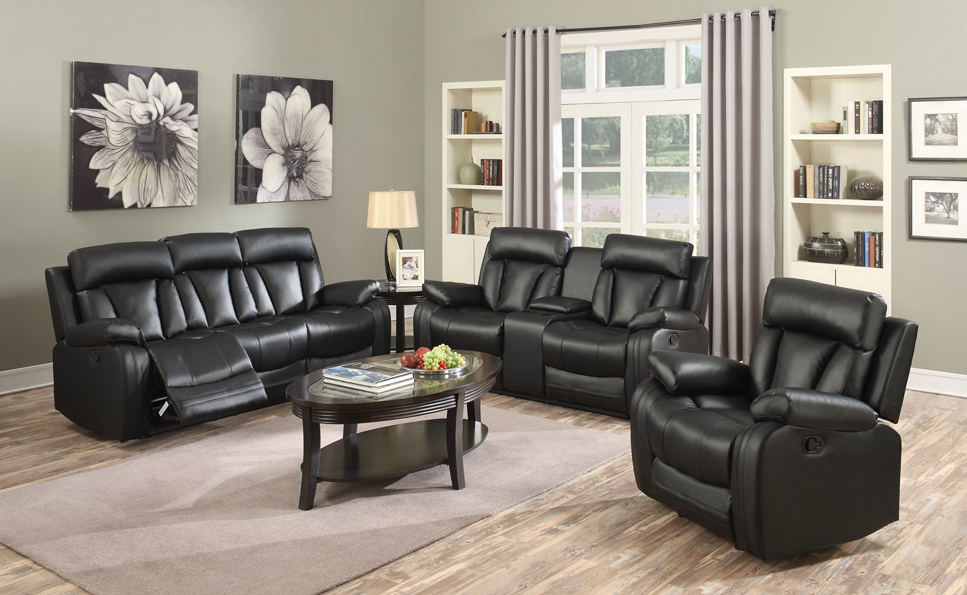 Kyson Modern Black Bonded Leather Reclining Sofa