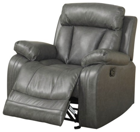 Terrific Kyson Modern Grey Bonded Leather Reclining Chair W Channel Dailytribune Chair Design For Home Dailytribuneorg