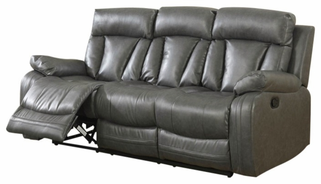 Kyson Modern Grey Bonded Leather Reclining Sofa with Channel Backs