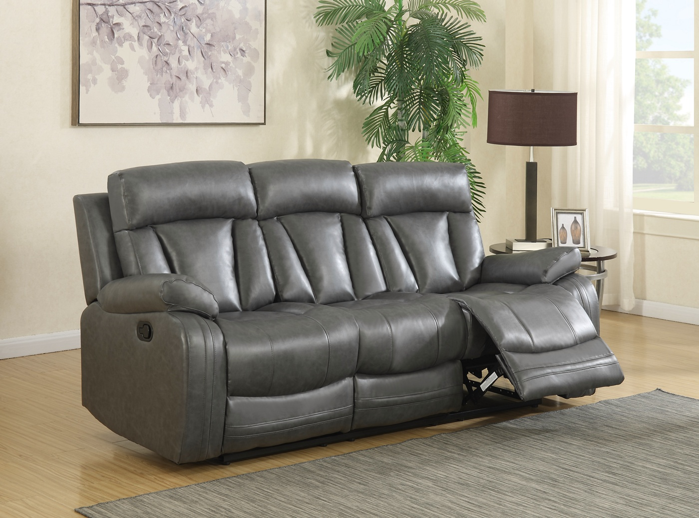 Kyson Modern Grey Bonded Leather Reclining Sofa Amp Loveseat