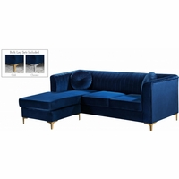 Kyson Navy Velvet 2pc. Reversible Sectional w/Channel Tufted Back & Chrome Legs