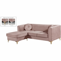 Kyson Pink Velvet 2 pc. Reversible Sectional w/Channel Tufted Back & Chrome Legs