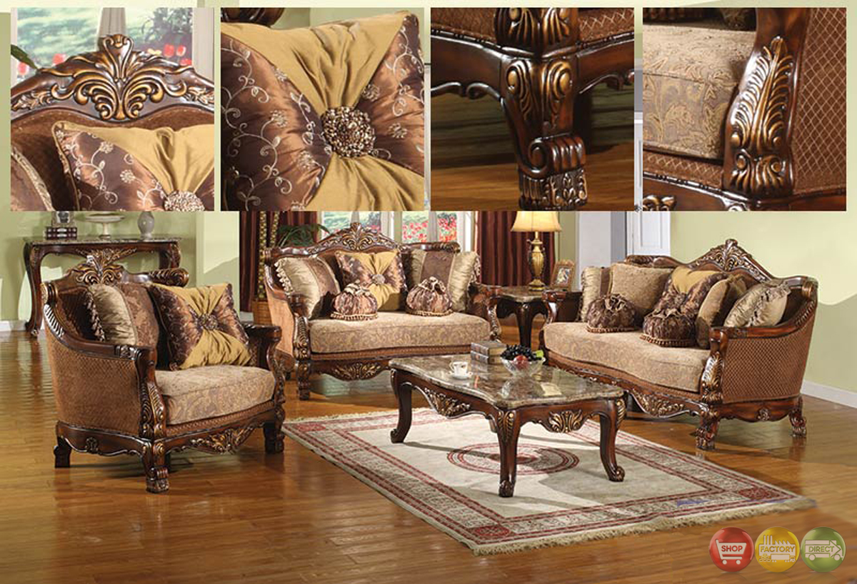 Traditional style formal living room furniture brown sofa for Wooden living room furniture