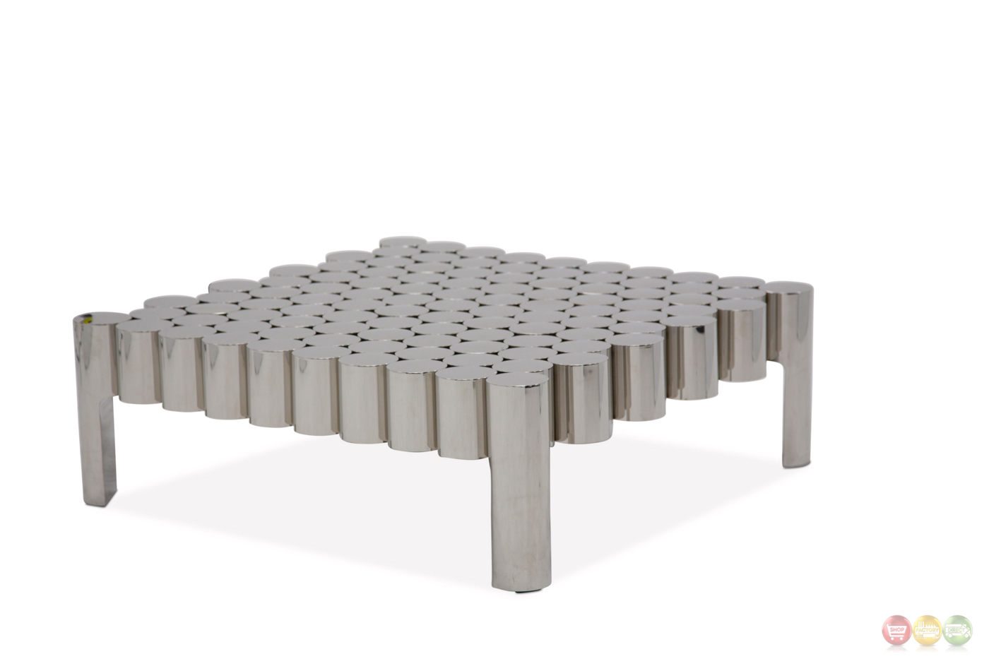 La Tania Ultra Modern Coffee Table In A Silver Stainless Steel Finish