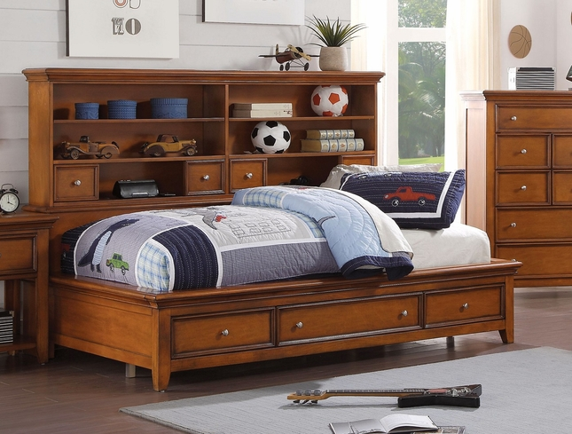 Lacene Kids Traditional Boys Youth Full Daybed W Storage In Cherry Oak Finish