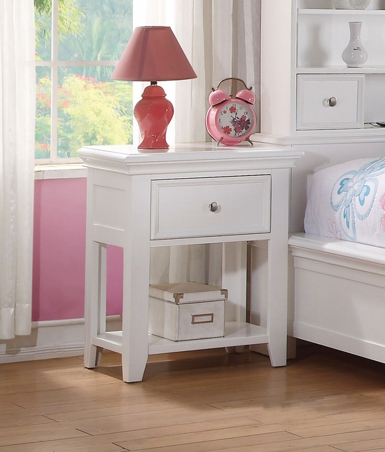 Lacene Kids Traditional Girl's Youth 1-Drawer Nightstand in White Finish
