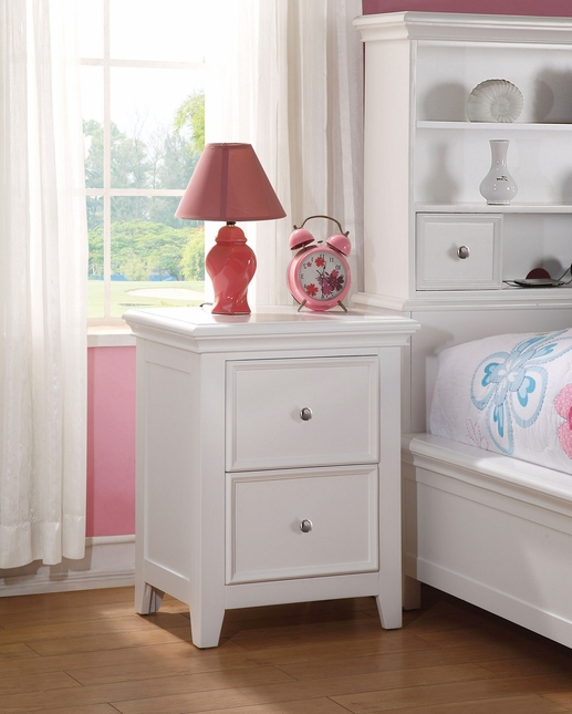 Lacene Kids Traditional Girl's Youth 2-Drawer Nightstand in White Finish